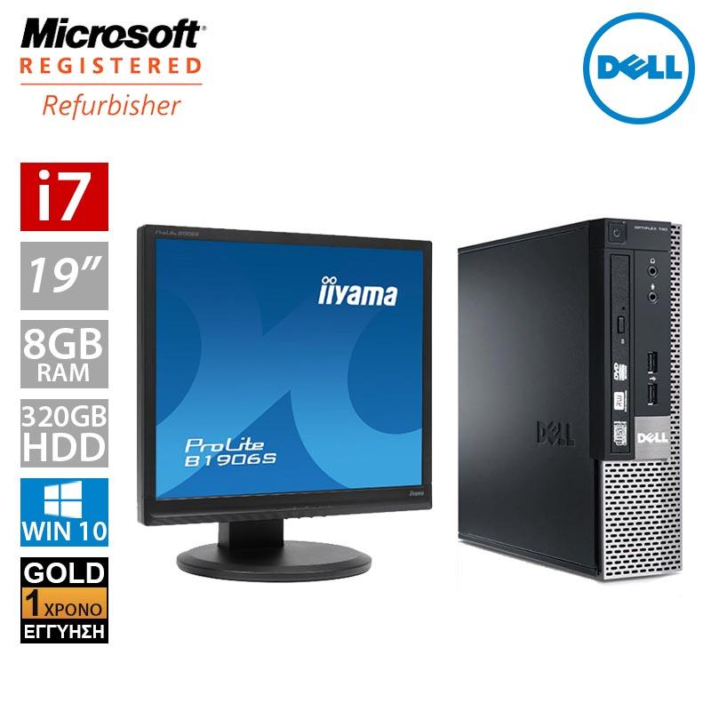 """Dell Optiplex 7010 USFF (i7 3770s/8GB/320GB HDD/Οθόνη 19"""")"""