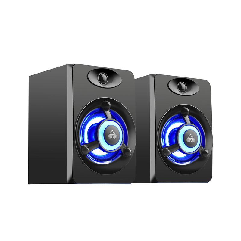 POWERTECH ηχεία Crystal sound PT-842, 2x 3W, 3.5mm, μαύρα